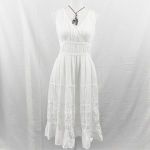 Vintage Flowy Cotton Dress White Embroidered